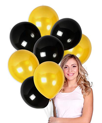 Treasures Gifted Pack of 100 Gold and Black Metallic Balloons for Bachelorette Party Decorations Class or Family Reunion Fancy Birthday Anniversary Graduation or Baby Shower -