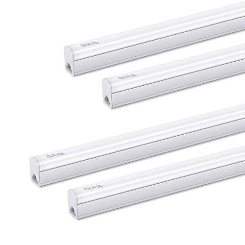 (Pack of 4) GRG LED T5 Integrated Single Fixture, 3Ft 15W 1650lm 6500K, Linkable Utility Shop Light, Garage Light, LED Ceiling & Under Cabinet Light, T5 T8 Fluorescent Tube Light Fixture Replacement