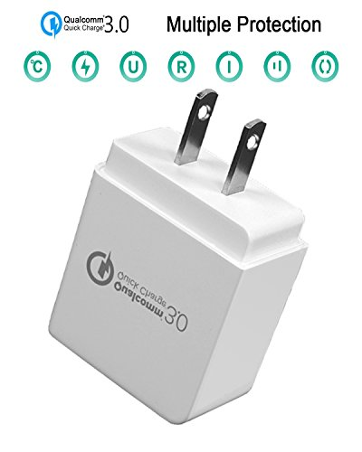 LOCCOL Rapid Charger Quick Charge 3.0 18W One-Port USB Power Adapter Wall Charger Qualcomm Fast Charger For Charging Phones, Tablet, And Others Devices (White, Quick Charge 3.0)