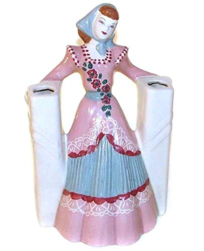 Art Pottery Ceramic Hand-Painted Woman With Double Vase - Vase Figure