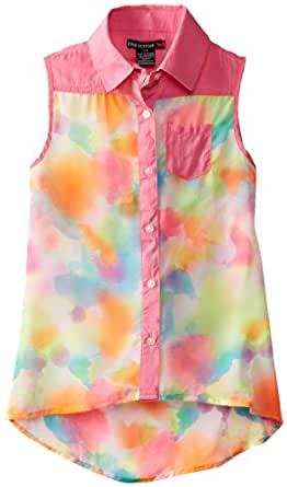 One Step Up Big Girls' Printed Tie Dye Chiffon, Neon Knockout Pink, Small