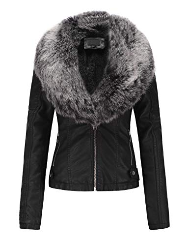 Fur Detachable Faux (Bellivera Women's Faux Leather Short Jacket, Moto Jacket with Detachable Faux Fur Collar for Winter)