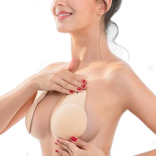 Adhesive Bra, Coco's Wardrobe Breast Lift Tape Silicone Push up Bras for Women, Backless Tape Strapless Reusable Sticky Bra, Bonus One Pair Nippleless Covers