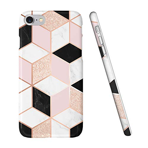 (Obbii Cute Case for iPhone 7/ iPhone 8/iPhone 6/6S Sparkle Rose Gold Pink Black Geometric Marble Desgin Slim TPU Flexible Soft Silicone Protective Durable Cover Case Compatible with iPhone 7/8/6/8S)