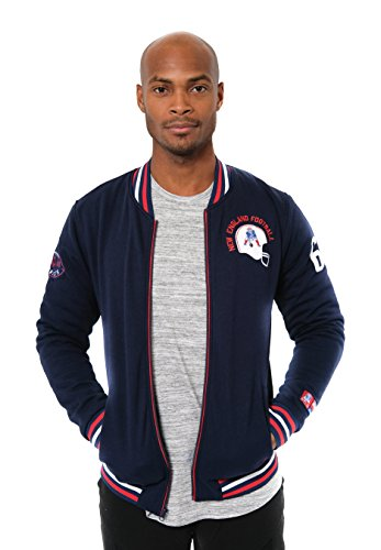 (ICER Brands NFL New England Patriots Men's Full Zip Fleece Vintage Letterman Varsity Jacket, Small, Navy)