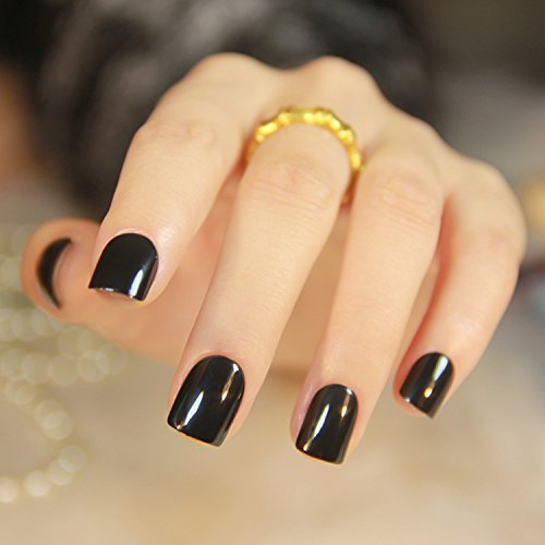 24 Pcs 12 Sizes Solid Color Fake Nails Short Press on Style Black Full Cover Oval Nail Art Tips for Finger … (Black) (Cute Halloween Nail Designs For Short Nails)
