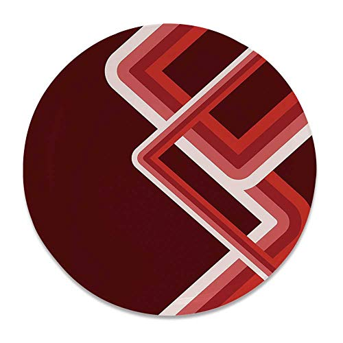 (YOLIYANA Maroon Round Ceramic Decorative Plate,Artistic Retro Style Illustration in Shades of Red Abstract Twisted Bend Stripes Decorative for Table Or Wall,6 inch )