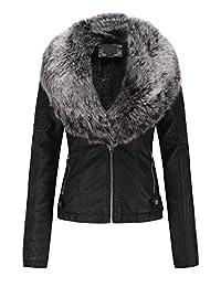 Bellivera Womens Faux Fur Collar Leather Short Jacket
