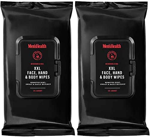 Men's Health Body & Face Wipes - 2 Pack (50 Count) XL Men's Face, Hand and Deodorizing Body Wipes, Traveling Wipes & After Workout Wipes - Resealable Flip Top Pack