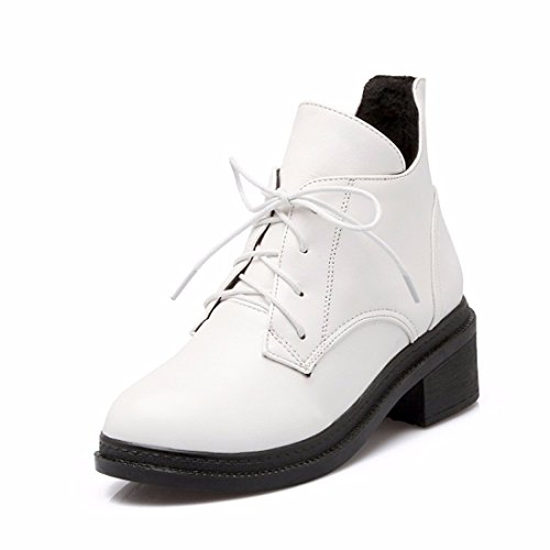 Invierno botas botas casual dama Martin estudiantes White (Terry)