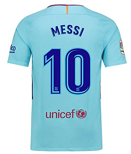 Mosmeer New Season Barcelona Messi 10 2017/2018 Away Soccer Jersey For Men Color Blue Size S – DiZiSports Store