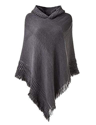 Women Hooded Shawl Cape Knit Sweater Poncho Tassel Fringe Hem Knit Scarf Top Grey