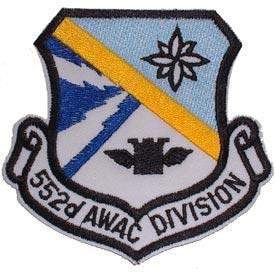 552ND AWAC USAF 3.5 Embroidered Patches Premium Quality Iron On Patch