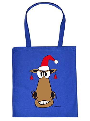 Weihnachten kommt immer näher - Stofftasche mit Druck - Rentier - Rudolph - Geschenkidee. Royal-Blau
