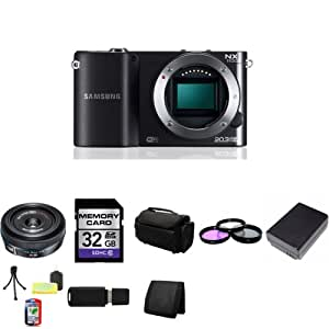 Samsung NX1100 Smart Wi-Fi Digital Camera Body (Black) + Samsung 20mm f/2.8 Pancake Lens for NX + 32GB SDHC Class 10 Memory Card + 43mm 3 Piece Filter Kit + BP1030 Lithium Ion Replacement Battery + Deluxe Soft Large Camera and Video Case Bag + Mini Tripod Kit + USB SDHC Reader + Memory Wallet