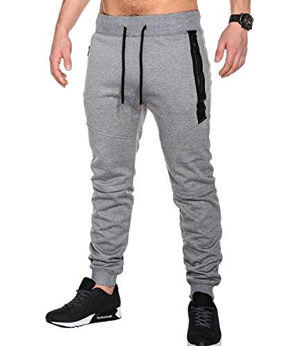 BetterStylz SlvrCatBZ Men' s Sportswear Tech Fleece Jogger Track Pants Jogging Regular Fit Fitness Bottom Tapered Fit 3 colors (S-XXL) (Medium, Light Grey/Black)