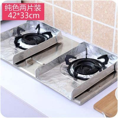 redcolourful 2Pcs Aluminum Foil Gas Stove Covers Non-Stick Protectors Sheets Anti-Oil Pad Tin Paper Silver Household Products