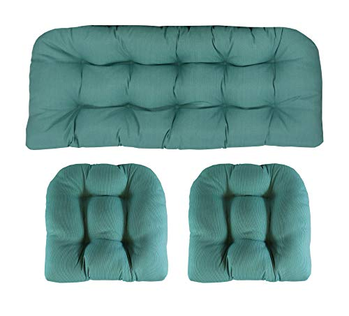 RSH Décor Indoor/Outdoor Wicker Cushions Two U-Shape and Loveseat 3 Piece Set (Aqua Blue Green Tiny Stripe)