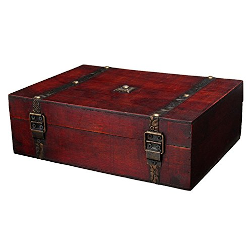 (LianLe Wooden Storage Box Antique Wooden Jewelry Treasure Storage Box Gift Box)