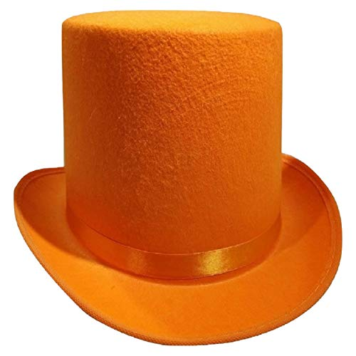 Nicky Bigs Novelties Tall Deluxe Felt Top Hat, Orange, One Size -