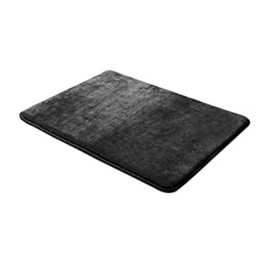 Memory Foam Bathrug – Black Bath Mat and Shower Rug Small 17  x 24  Inches, Non Slip Latex Free Plush Microfiber. Comfortable, Beautiful and Maximum Absorbency.