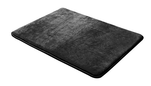 Microfiber Bath (Memory Foam Bathrug – Black Bath Mat and Shower Rug Large 20 x 32 Inches, Non Slip Latex Free Plush Microfiber. Comfortable, Beautiful and Maximum Absorbency.)