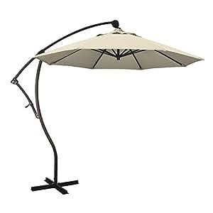 California Umbrella BA908117-SA22 9' Round Aluminum Cantilever Umbrella, Bronze Pole, Beige Pacifica