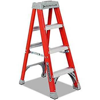 "Louisville FS1504 Fiberglass Heavy Duty Step Ladder, 50"", 3-Step, Orange"