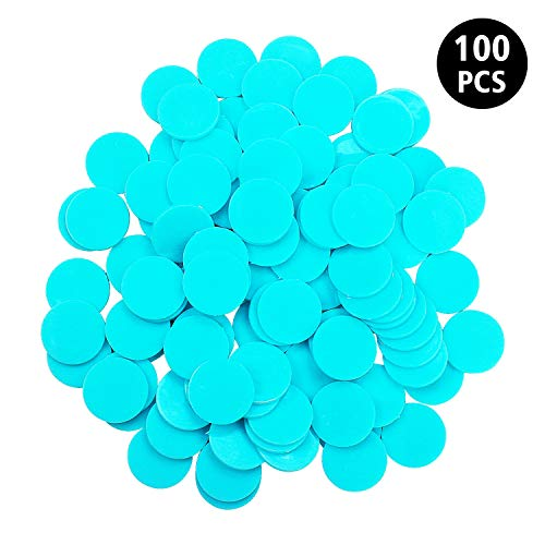 Round Bingo - WESTRONG 100 Pieces Counters Counting Chips 1 Inch Opaque Plastic Learning Round Counters Bingo Chip Disks Markers Mini Poker Chips for Math Practice and Bingo Chips Game Tokens(Blue)