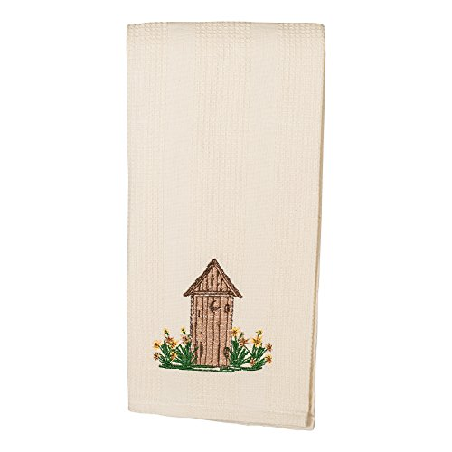 The Country House Collection Outhouse and Sunflowers 19 x 28 All Cotton Embroidered Waffle Kitchen Towel