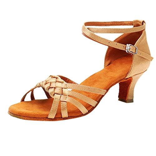 TOOPOOT Waltz Dance Sandals for Women Ladies Rumba Waltz Prom Ballroom Latin Salsa Dance Shoes Square Dance Shoes Khaki
