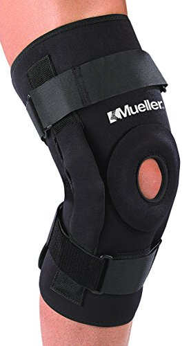 Mueller Pro Level Hinged Knee Brace Deluxe, Black, - Brace Knee Hinged Deluxe