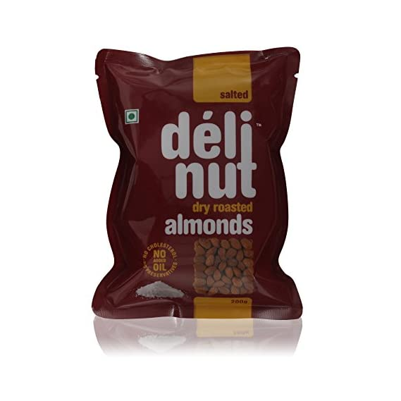 Delinut Premium Almonds, Salted Dry Roasted Almonds, 200 Grams Pouch