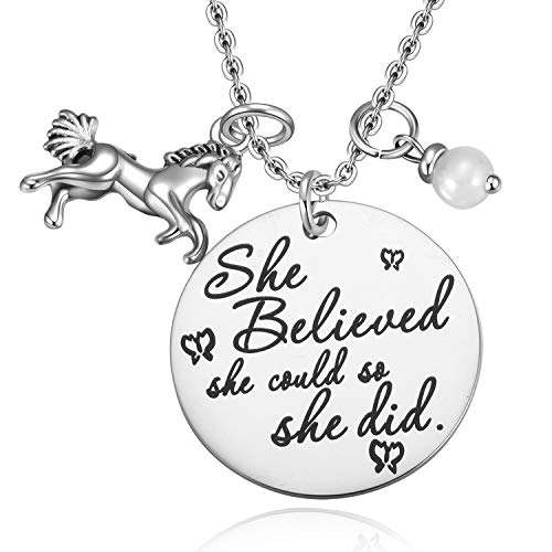 MIXJOY Horse Jewelry Gift for Girls Horse and Pearl Pendant Necklace for Girls Inspirational Gifts for Women Graduation Gift
