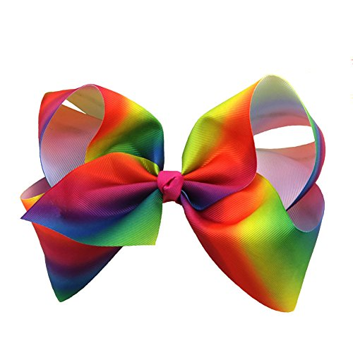 [iBiubiu 2PCS 8IN Girls Large Boutique Grosgrain Hair Cheer Bows with Clips-Rainbow] (Cute Cheerleading Outfits)