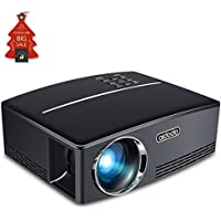 Mini Projector LED Portable Video Projectors Aidodo 1800 Lumens Multimedia Home Theater Projector Support 1080p HDMI USB SD Card VGA AV for Home Cinema TV Laptop DVD Player and HD Games