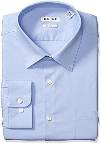 (Haggar Dress Shirts Men's Classic Fit Performance Adjustable Spread Collar, Light Blue Solid, 16-16.5 32/33)