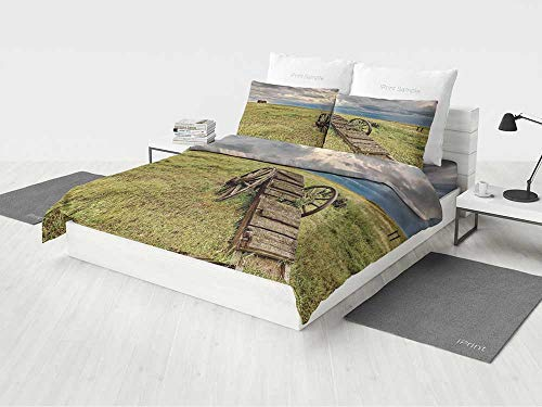 Wheel Wagon Knob (Barn Wood Wagon Wheel Baby Girl Bedding Set Old Prairie Cart Agricultural Field Ranch Dramatic Stormy Sky Printing Four Pieces of Bedding Set Green Brown Grey)