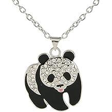 EVER FAITH Silver-Tone Squabby Panda Pendant Necklace Clear Austrian Crystal
