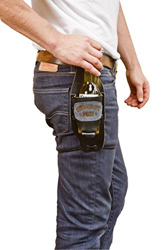 Cowboy Buzy Beer Holster Handmade by Hide  Drink :: Black