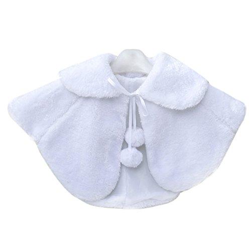 SK Studio Little Girl Faux Fur Shawl Stole Wedding Party Wrap White by SK Studio