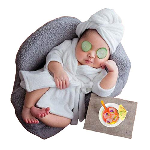 Newborn Baby Photography Props Scarf+Bathrobes 2pcs Set Plush Costume Shooting Photo Prop Shower Gift Accessories White -