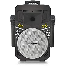 Pure Acoustics (MCP-75) | Suono Wireless Portable Bluetooth Speaker with 2 Wireless Microphones FM Radio Party Karaoke Machine Sound System Smartphone Soundstream Black & Silver (Renewed)