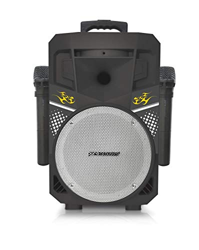 Pure Acoustics (MCP-75) | Suono Wireless Portable Bluetooth Speaker with 2 Wireless Microphones FM Radio Party Karaoke Machine Sound System Smartphone Soundstream Black & Silver (Renewed)