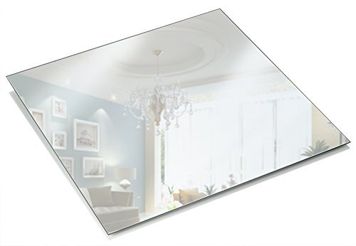 Light In The Dark 12 Inch Square Mirror Candle Plate 1.5 mm Thick with Round Edge Set of 12]()