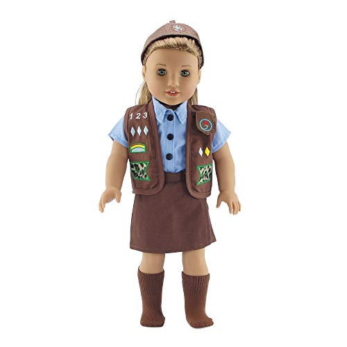 (Emily Rose 18 Inch Doll Clothes | Brownie Girl Scout Modern 5 Piece Uniform Outfit | Fits 18