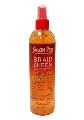 Salon Pro Braid Sheen Shine Spray 8 in 1 Formula 12 oz. / 355 ml (Argan Oil) (Sheen Spray Conditioning)