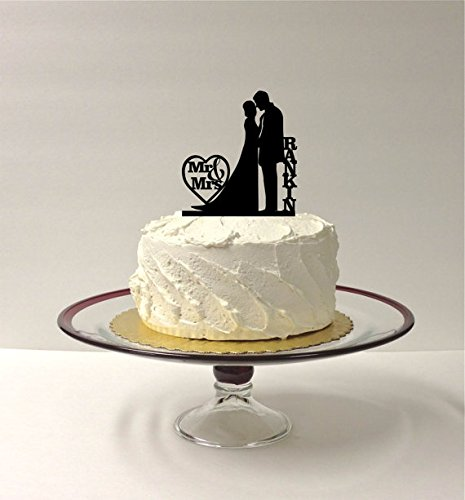 MADE IN THE USA Personalized Silhouette Wedding Cake Topper Loving Embrace Personalized With YOUR Family Last Name Mr and Mrs Wedding Cake Topper Love (Cake Loves Embrace Top)