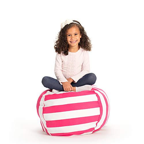 Creative QT Stuffed Animal Storage Bean Bag Chair - Toddler Size Stuff n Sit Organization for Kids Toy Storage - Available in a Variety of Sizes and Colors (27, Pink Stripe)