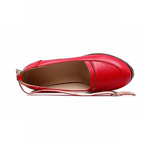 Latasa Womens Fashion Ankle-strap Platform Block High-heel Pumps Shoes, Platform Shoes Red